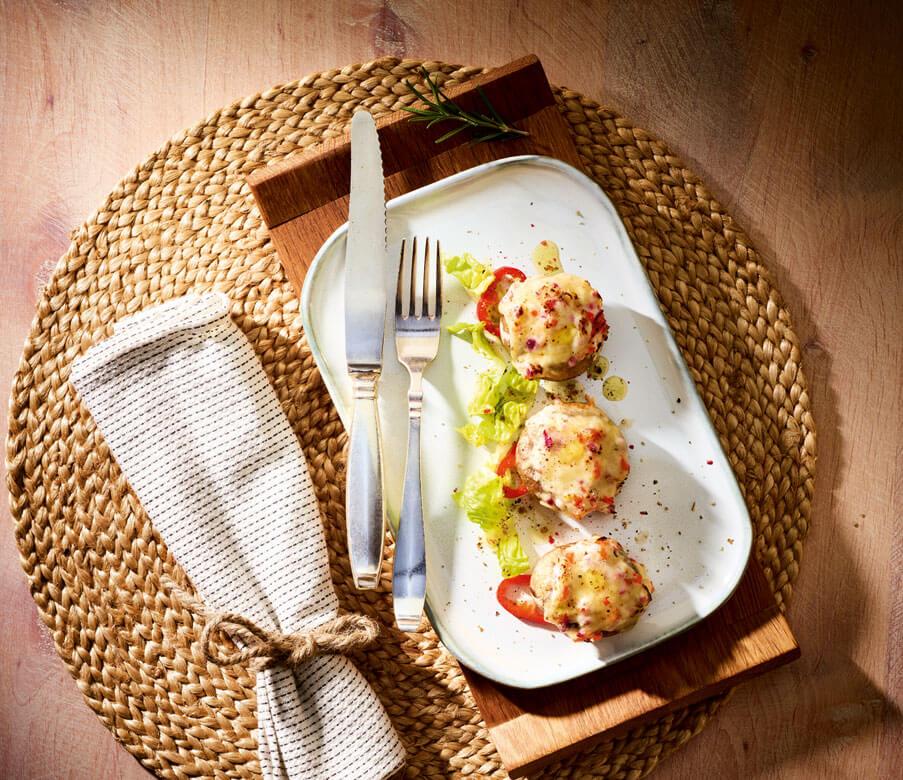 Gefüllte Champignons mit Heumilch-Käse