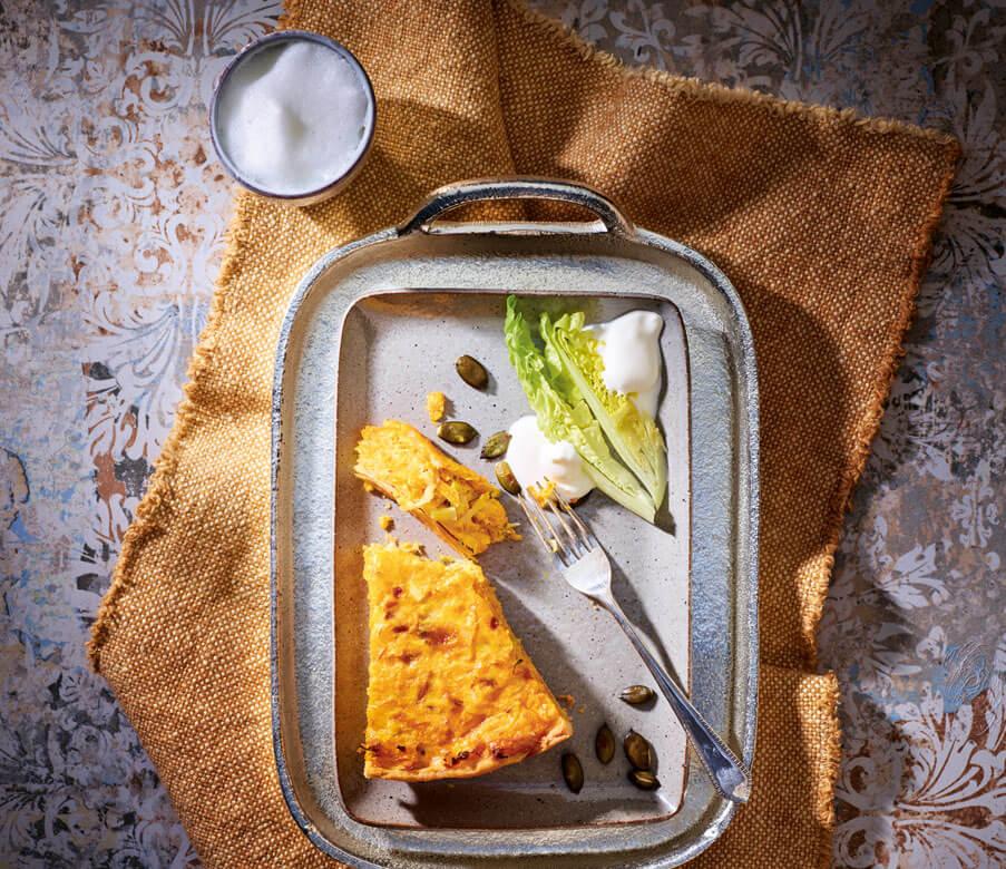 Kürbisquiche mit Heumilch-Käse