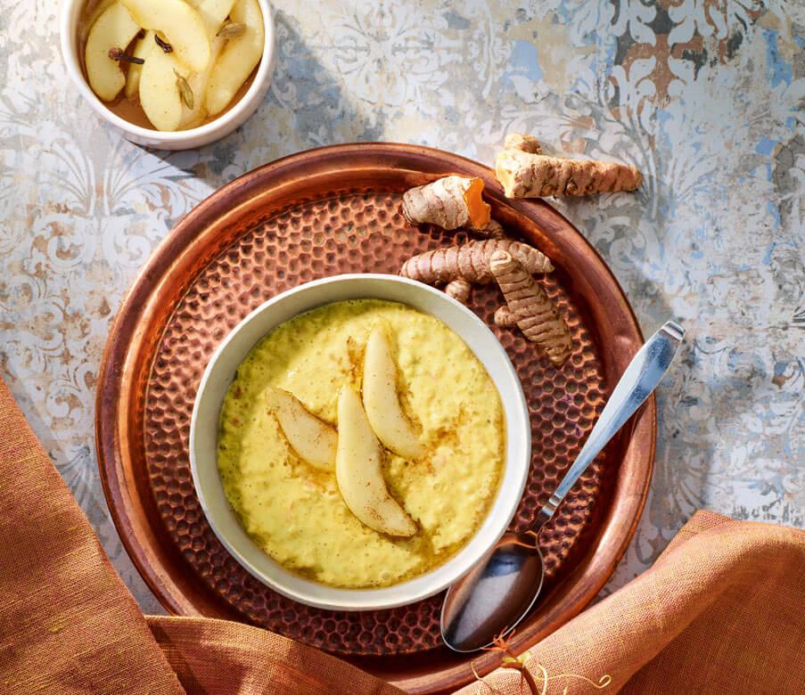 Kurkuma-Birnen-Porridge