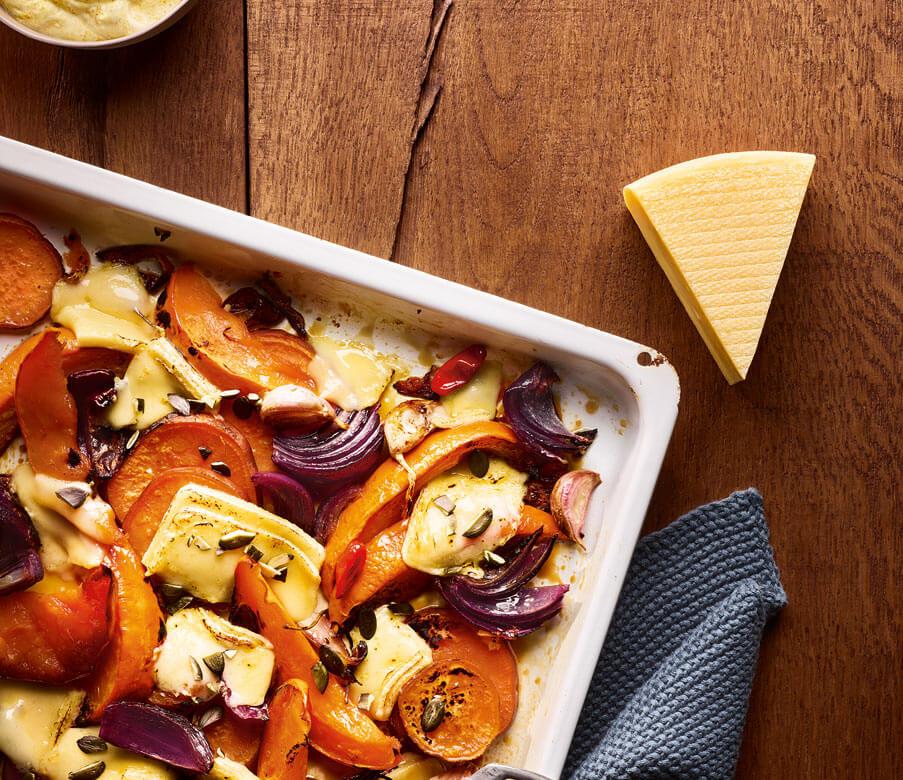 Gegrilltes Herbstgemüse mit Heumilch-Käse